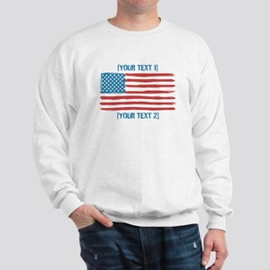 [Your Text] 'Handmade' US Flag Sweatshirt